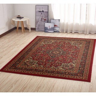 Ottomanson Ottohome Collection Persian Heriz Oriental Design Non-skid Non-slip Rubber Backing Area Rug - 3'3 x 5'