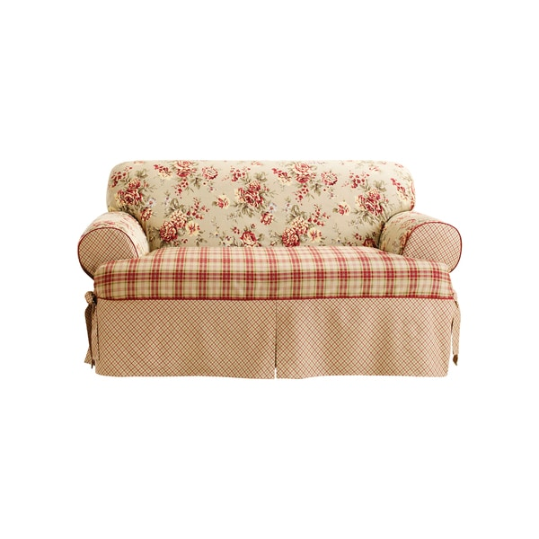Ruffled Sofa Slipcover Sure Fit Lexington 1-piece T-cushion Loveseat Slipcover ...