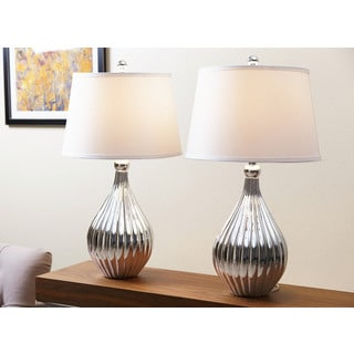 Silver Hammered Ceramic Table Lamp 17431276 Overstock