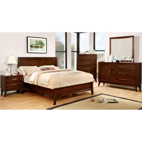 Modern Discount Bedroom Furniture: Furniture Of America Kasten Modern 4-piece Brown Cherry