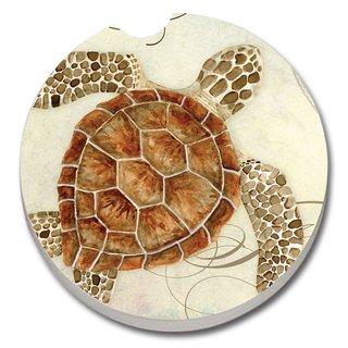 Counterart Absorbent Stone Car Coaster Sea Turtle (Set of 2)
