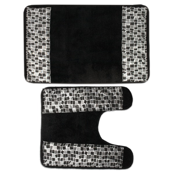 Classic Black And Silver Tile Patchwork Bath And Contour
