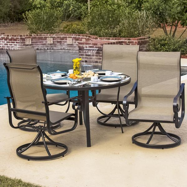 la salle 4 person sling patio dining set with glass top table 17393008. Black Bedroom Furniture Sets. Home Design Ideas
