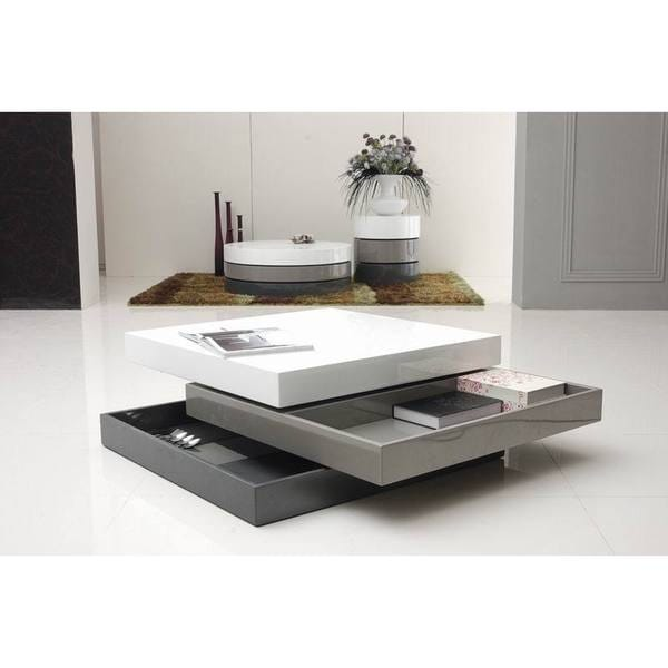 Modrest Upton Modern Square Glass Coffee Table Coffee: Modrest Trio-2 Lacquer 3-tone Square Coffee Table