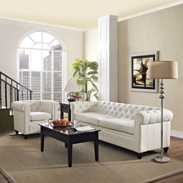 Overstock Living Room Sets: Earl 2-piece Fabric Living Room Set