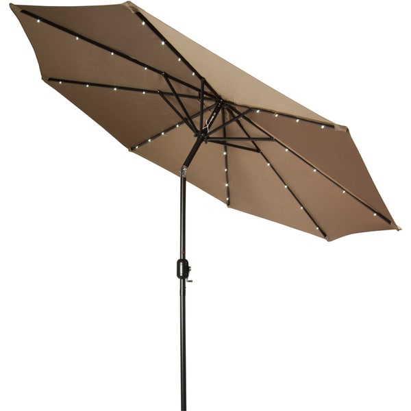Trademark Innovations 9-inch Deluxe Solar Powered Led Lighted Tan Umbrella