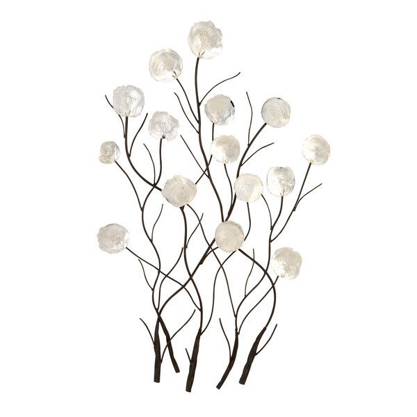 36 Inch Contemporary White Capiz Shell Peonies Wall