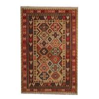 Herat Oriental Afghan Hand-woven Vegetable Dye Tribal Wool Kilim - 6'8 x 9'9