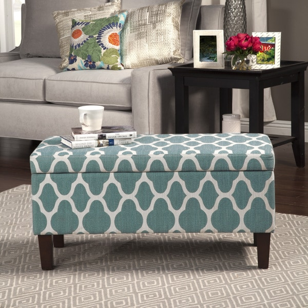 Homepop Large Teal Blue Decorative Storage Ottoman 17407384 Overstock Com Shopping Great Deals On Homepop Ottomans