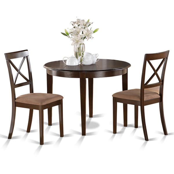 3 Piece Small Kitchen Table And Chairs Set Round Table And: 3-piece Small Round Table And 2 Dining Chairs
