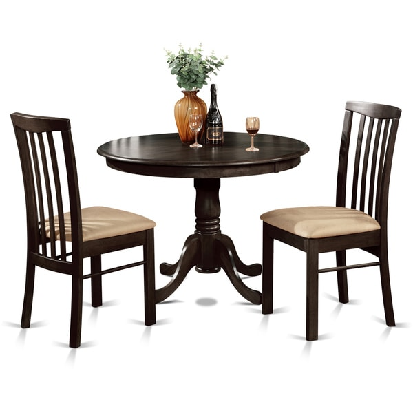 Overstock Kitchen Table Sets: 3-piece Small Kitchen Round Table And 2 Dining Chairs