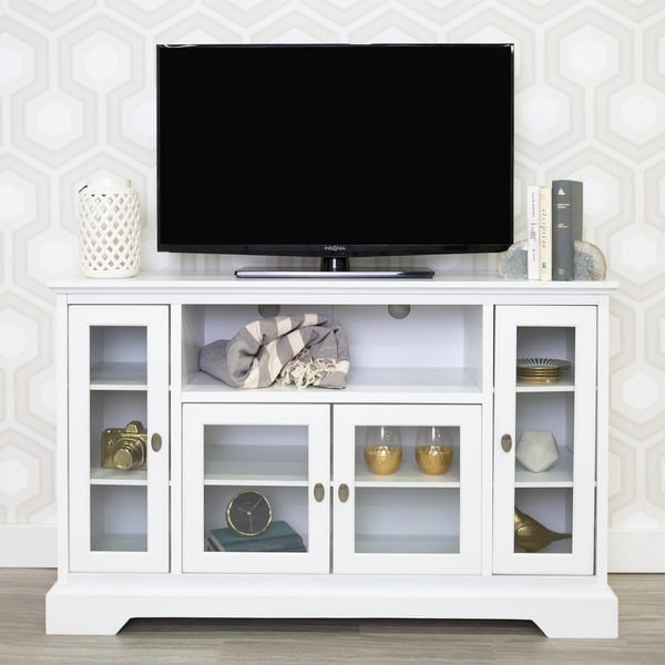 52 Quot White Wood Highboy Style Tv Stand 17411379