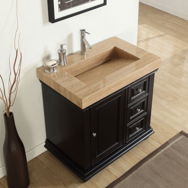 Silkroad Exclusive 36-inch Integrated Travertine Sink ...