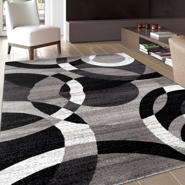 Contemporary Modern Circles Grey Area Abstract Rug 5 3 X