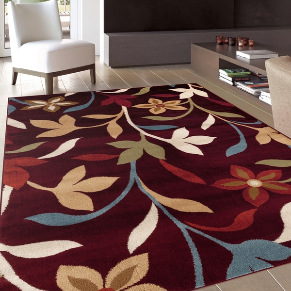 Modern Contemporary Leaves Design Burgundy Area Rug 5 3 X