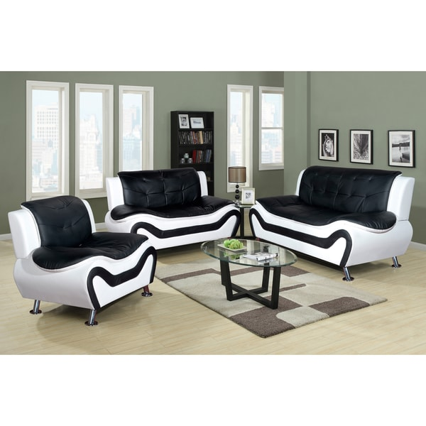Three Rooms Of Furniture: Ceccina 3-pc Modern Leather Living Room Sofa Set