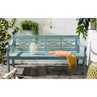 Super Sale Safavieh Outdoor Living Karoo Beach House Blue Bench Cjindustries Chair Design For Home Cjindustriesco