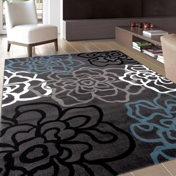 Contemporary Modern Floral Flowers D Grey Area Rug 7 10 X