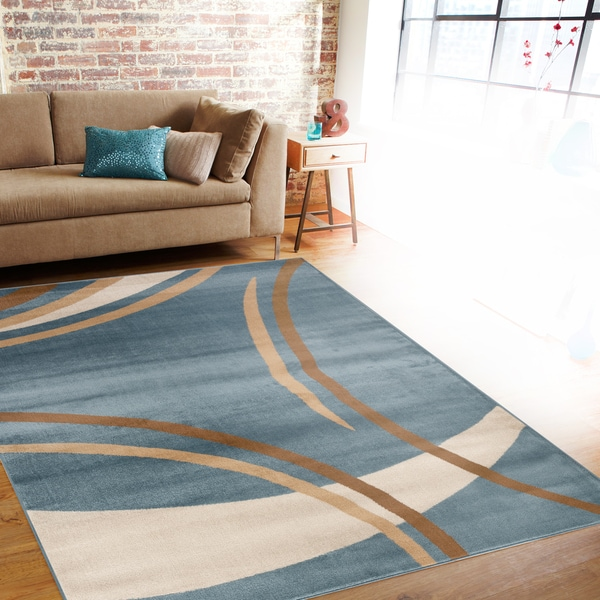 Contemporary Modern Wavy Circles Blue Area Rug 7 10 X 10