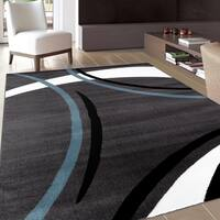 Contemporary Modern Wavy Circles Blue Area Rug (7'10 x 10'2) - 7'10 x 10'2