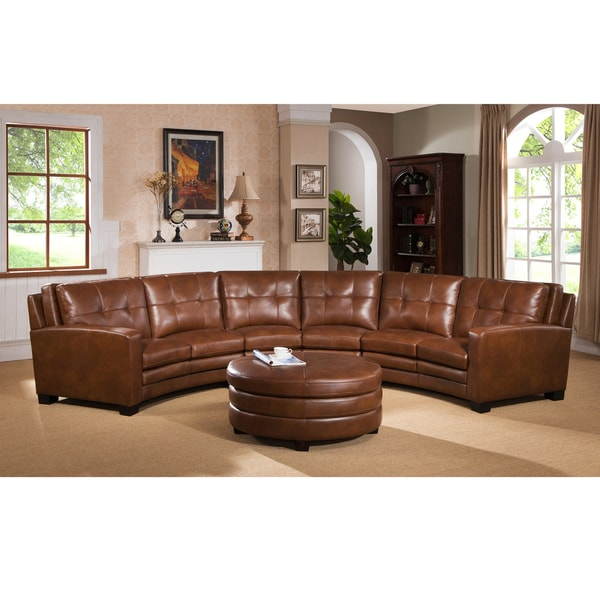 Meadows Brown Curved Top Grain Leather Sectional Sofa And