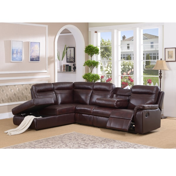 Monti Top Grain Burgundy Leather Lay Flat Reclining