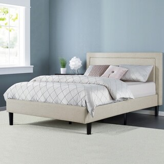 Priage Upholstered Detailed Queen Platform Bed with Wooden Slats