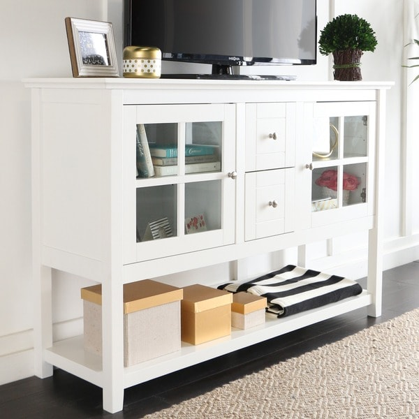 52 Inch White Wood Console Table Buffet 17422055