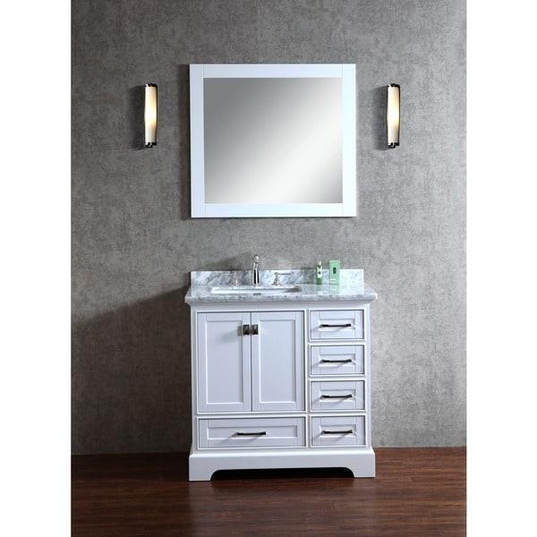 Stufurhome White 36-inch Single Sink Bathroom Vanity with ...