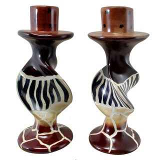 Handmade Animal Stripes on Bold Twists Soapstone Pair of Candleholders (Kenya)