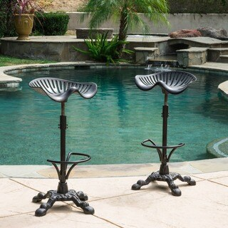 Tofolli Swivel Adjustable Cast Aluminum Barstool (Set of 2) by Christopher Knight Home