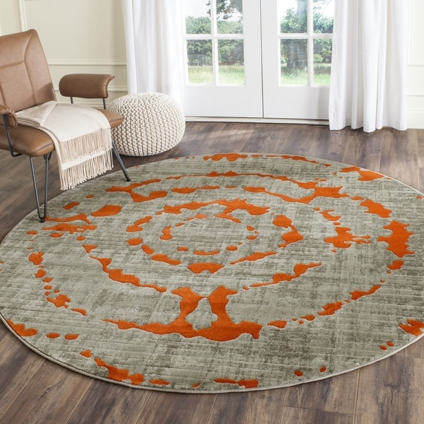 Safavieh Porcello Light Grey Orange Rug 6 7 Round