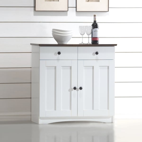 Two Tone Kitchen Cabinets Doors: Storage Cabinet Buffet Organizer 2 Drawers 2 Shelves With