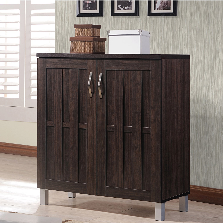Modern Entryway Storage: Modern Espresso Storage Cabinet Contemporary Natural Look