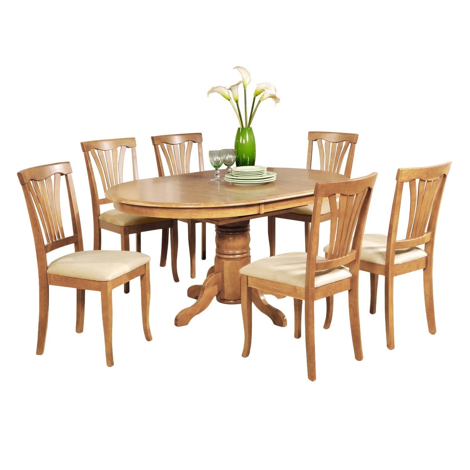 7 piece dining table set oval dinette table with leaf and 6 dining chairs in oak overstock. Black Bedroom Furniture Sets. Home Design Ideas