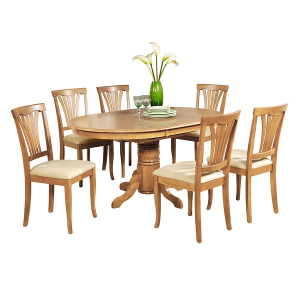 7 piece dining table set oval dinette table with leaf and 6 dining chairs in oak 17434929. Black Bedroom Furniture Sets. Home Design Ideas