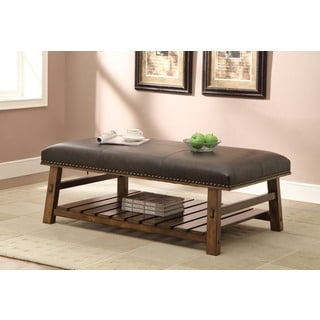 Nutmeg Bonded Leather Fabric Coffee Table Ottoman