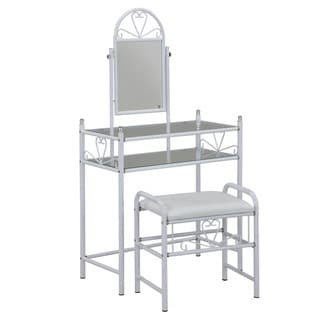White Tri Mirror Vanity 14170904 Overstock Com