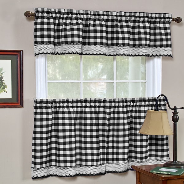 Classic Buffalo Check Kitchen Black And White Curtain Set
