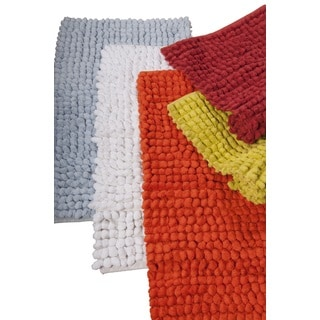 Hand Woven Chenille Rocks Cotton 24 X 36 Bath Rug By