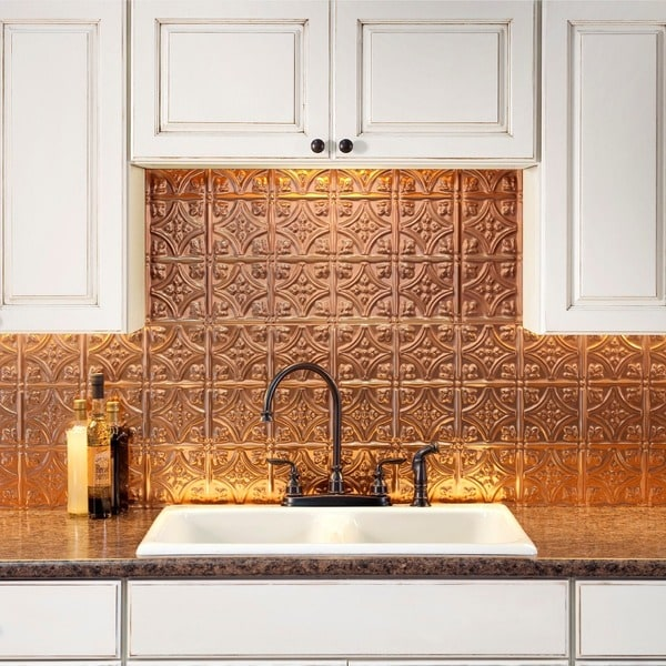 Fasade Traditional Style 1 Polished Copper Backsplash 18