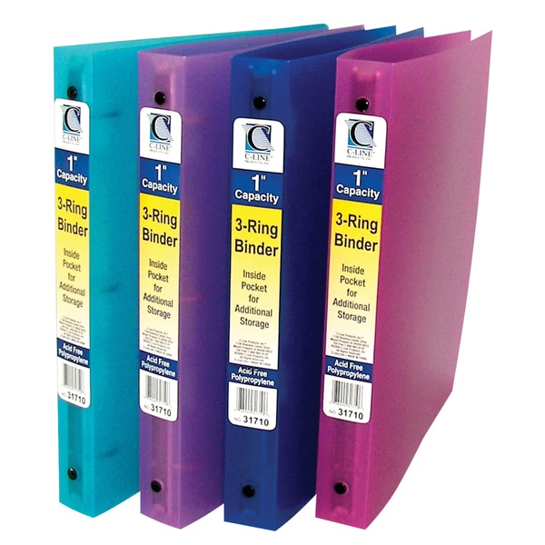 C-Line Products 3-Ring Poly Binder, 1 Inch Capacity (Color