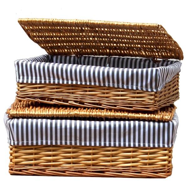 Soft Rush Lidded Rectangular Lined Storage Basket: Lined Storage Baskets With Lids (Set Of 2)