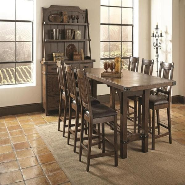 Illinois Modern Two Tone Large Round Dining Table With 8: Bastille Brown 8-piece Counter Height Dining Set