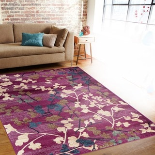 Hand Tufted Contemporary Lavish Plum Floral Rug 13402266