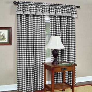 Blue White Check 63 Inch Curtain Panel 3 Piece Set