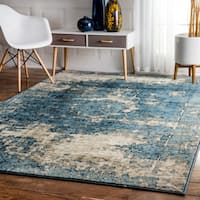 Maison Rouge Elaine Traditional Vintage Fancy Blue and Grey Rug  - 8' x 11'