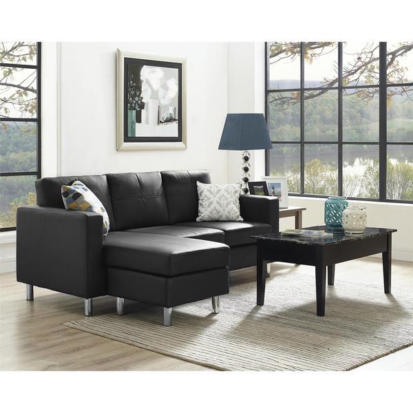 Avenue Greene Small Spaces Black Faux Leather Configurable