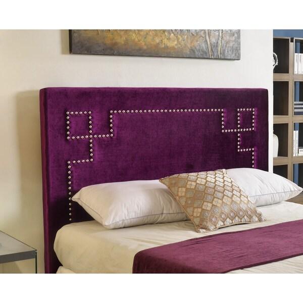 Abbyson Living Deco Purple Velvet Nailhead Trim