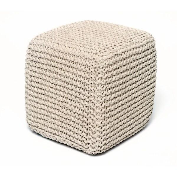 Jana Ivory Jute Pouf Square Cube Ottoman 17464754